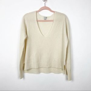 Halogen 100% Cashmere Textured Sweater Cream #0558